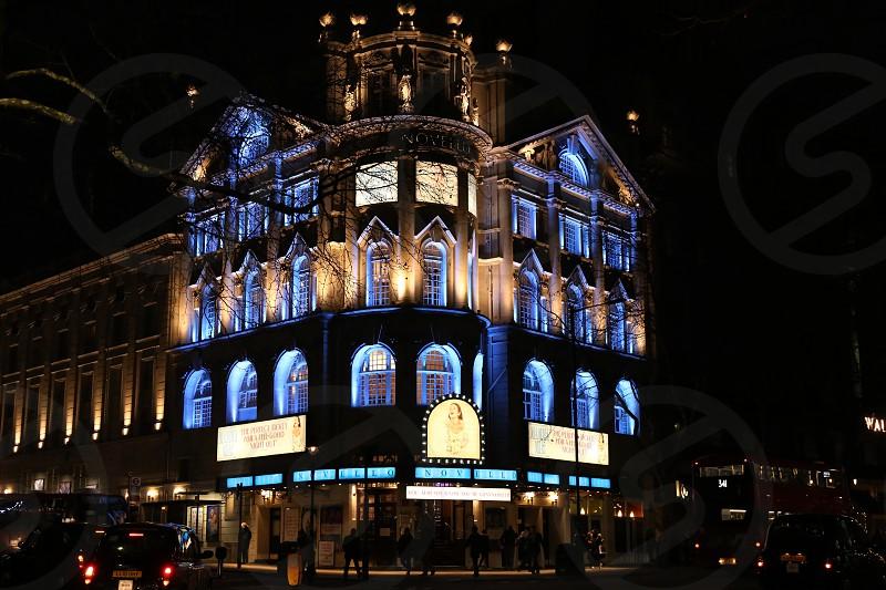 Theatre; London; Uk; England; night; travel; blue; lights photo