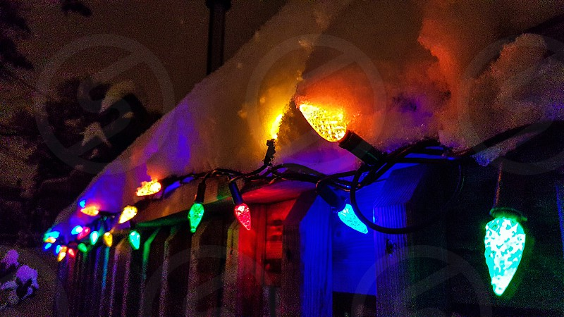 colourful outdoor christmas lights covered in snow photo