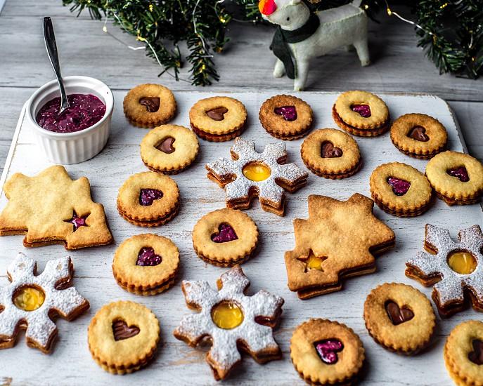 Cookies Linzer Christmas baking Christmas cookies  photo