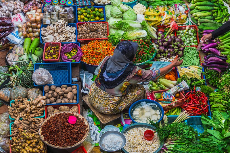 The colorful of vegetables at Pasar Siti Khadijah Kota Bahru Kelantan Malaysia photo
