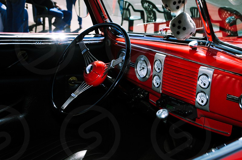 Vintage dashboard and steering wheel photo
