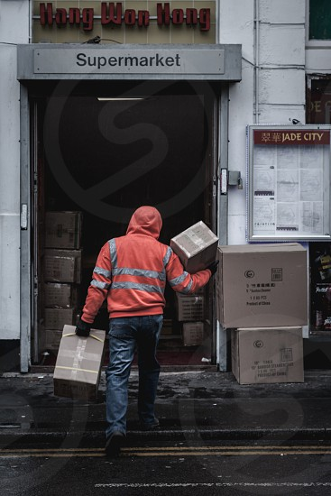 Delivery to the supermarket. China Town. Manchester UK. photo