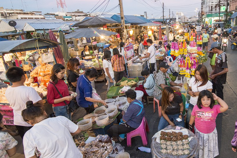 the old city Food Market at the Clock Tower in the city of Surin in Isan in Northeast Thailand.  Thailand Isan Surin November 2017 photo