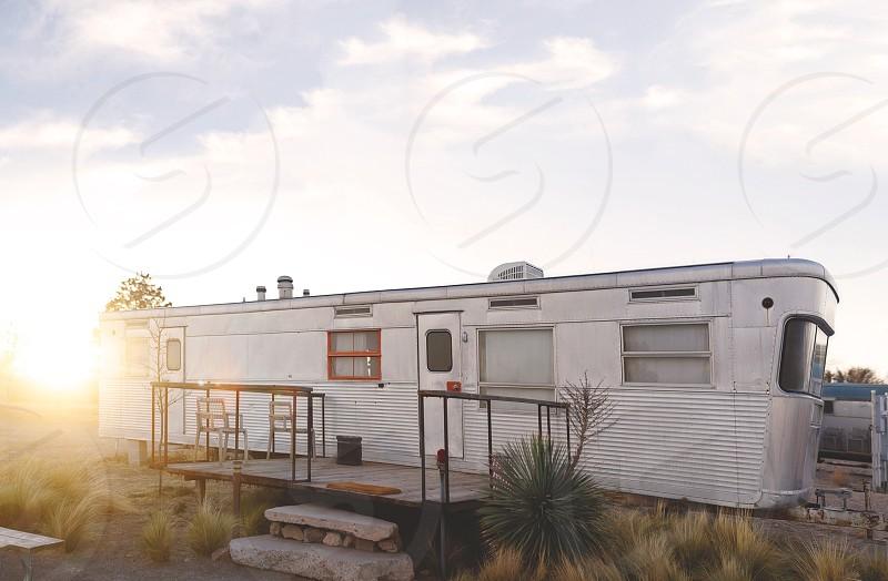 RV Resort in the desert at golden hour.  photo