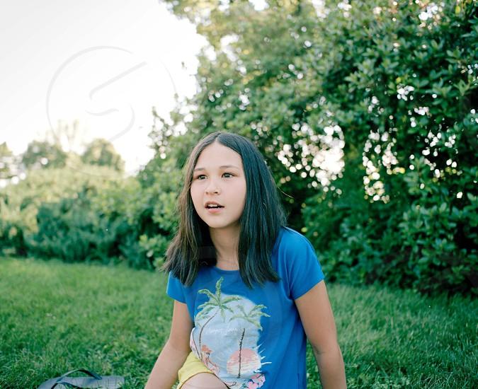 girl's blue printed tshirt photo