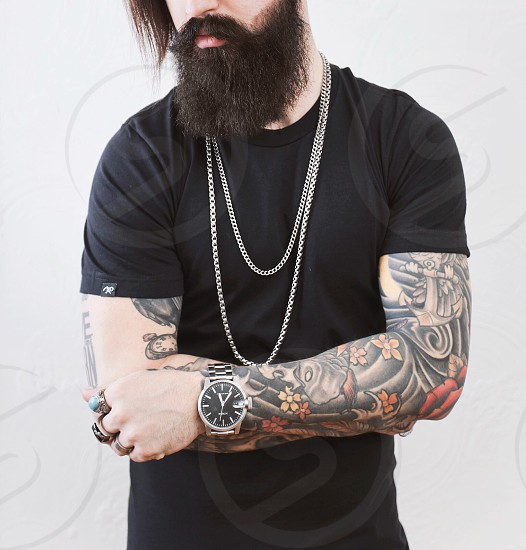 Beard man beautiful face hair color  photo