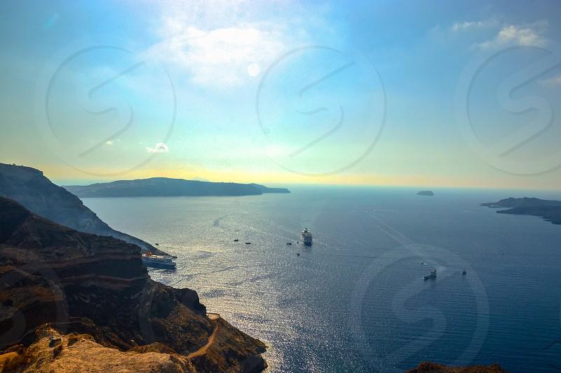 Scenic view of the Caldera of Santorini photo
