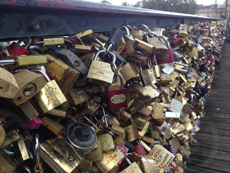 The original lovers padlock bridge - Paris photo