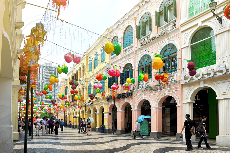 Senado Square decorated with colourful lanterns during Chinese New Year in Macau China photo