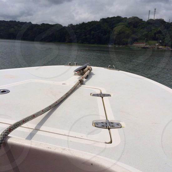 Boat; water; rope; lake photo
