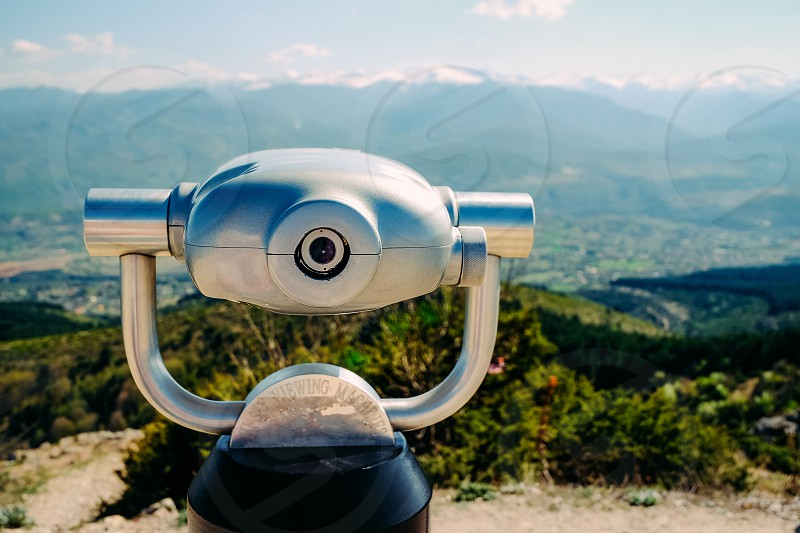 Binocular and mountains view in Skopje Macedonia.  photo