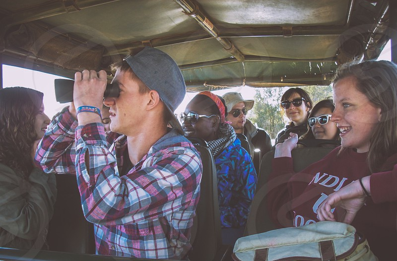Students from Indiana University Observe Wildlife During a Safari in the Bush photo