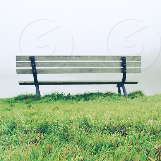 white and black wooden bench chair on grass photo