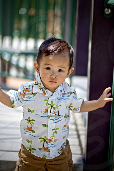boy wearing white button up collared shirt with green floral print photo