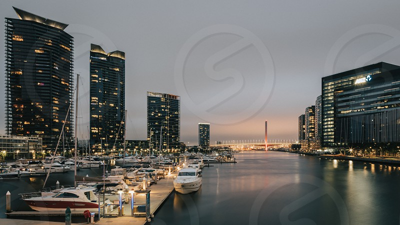 Melbourne buildings architecture city skyline Ian Jones Photography tilt-shift canon long exposure night night photography Docklands Yarra River boat boats cruiser yacht Bolte Bridge dusk marina photo