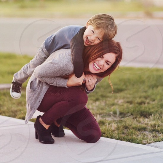 Mom and son happiness photo