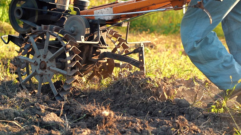 Man works in the garden with motorized unit motoblock - type of small-sized tractor used in the household. Cultivation of land digging potatoes harvesting in autumn plowing soil photo