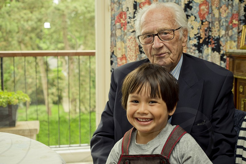 people portrait grand pa and grand grandson photo