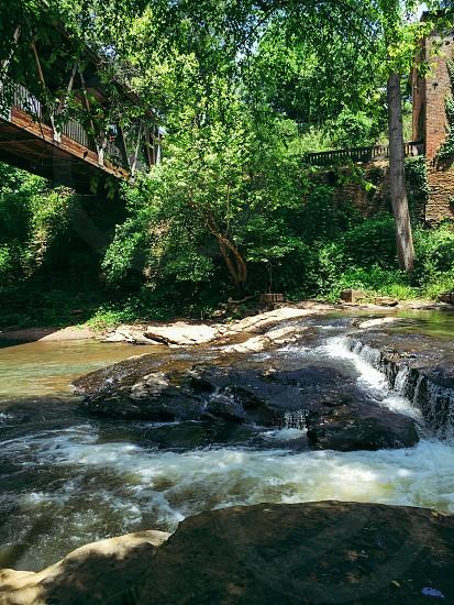 Vickery Creek Trail. Georgia trail River nature hiking outdoors beautiful covered bridge sunny photo