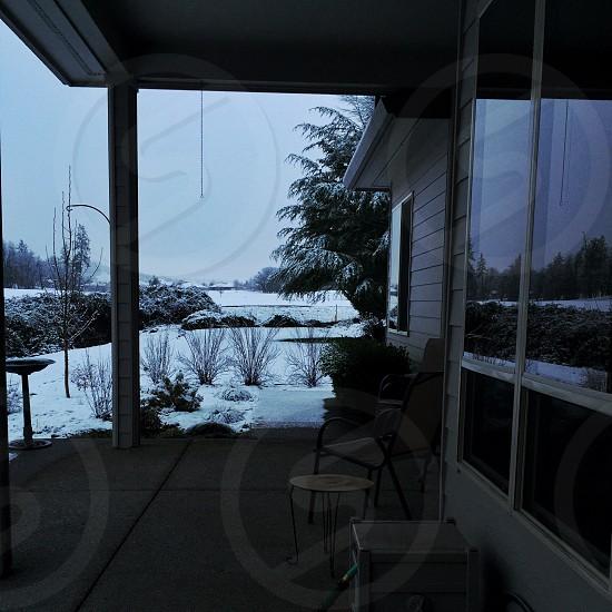 Winter scene framed by patio photo