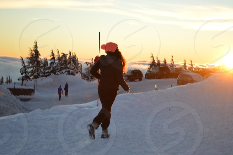 Explore timberline mountain ski hats snow running sunset  photo