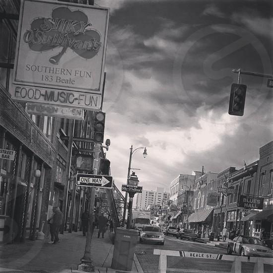 Beale street urban landscape streets one way traffic Memphis sky photo