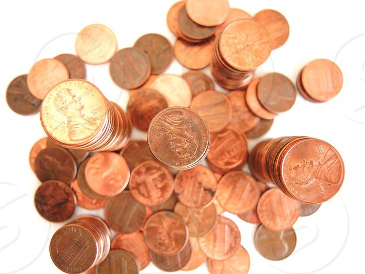 bronze round coins photo