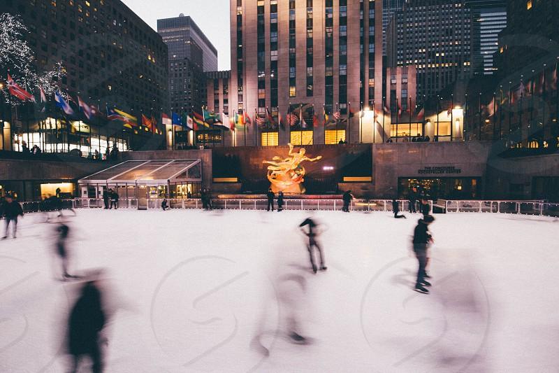 Ice skating New York City Rockefeller  photo