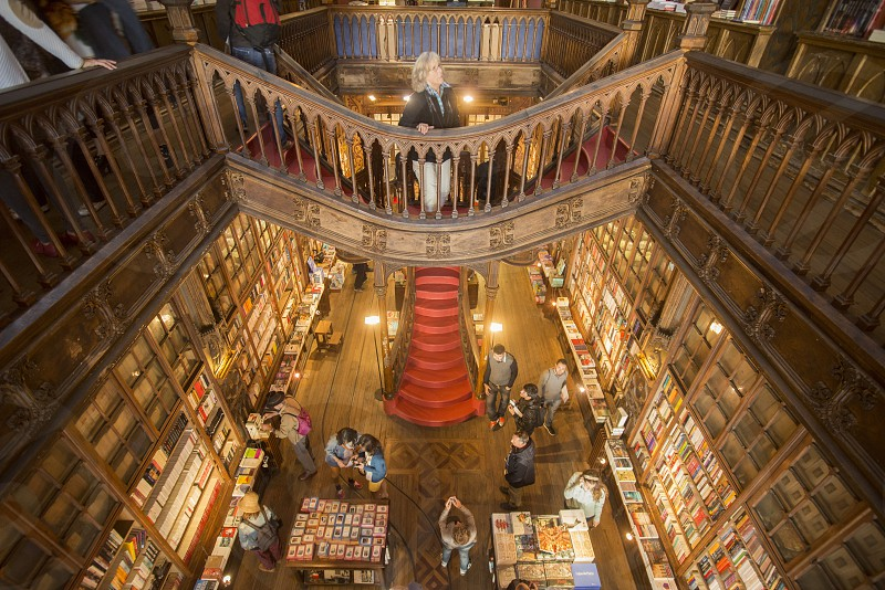 the Book shop Livraria Lello in Ribeira in Ribeira in the city centre of Porto in Porugal in Europe. photo