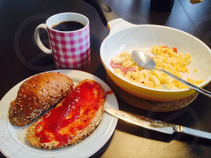 Breakfast egg coffeebreadtable  photo