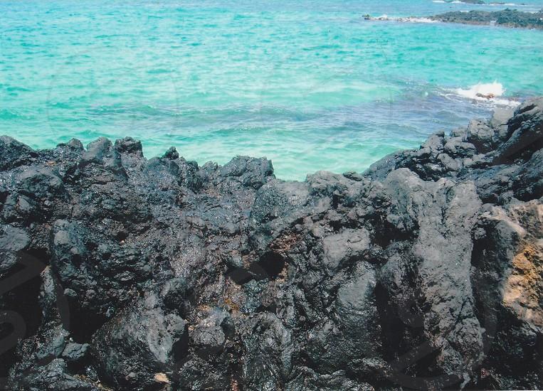 Lava and beautiful ocean  photo