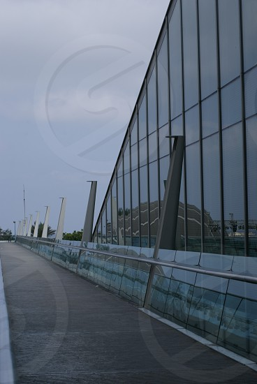 Biblotheca Alexandrina...The reflection of the planeterium on the wall of the main building of bibliotheca alexandrina architecture...A Landmark Building photo