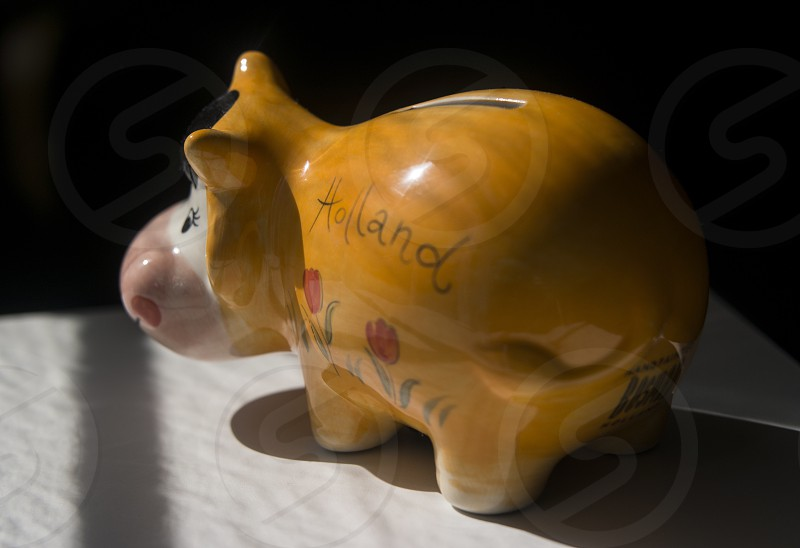 orange and white cow coin bank photo