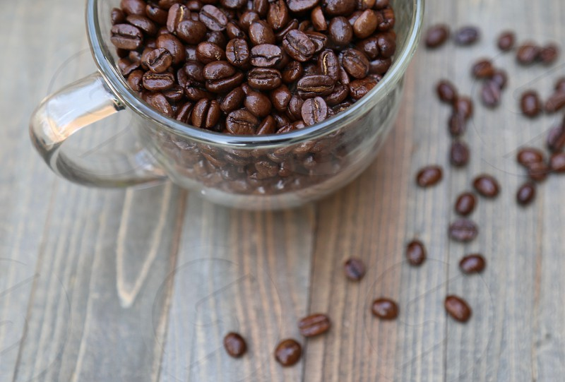 Coffee Beans in a Glass Mug photo