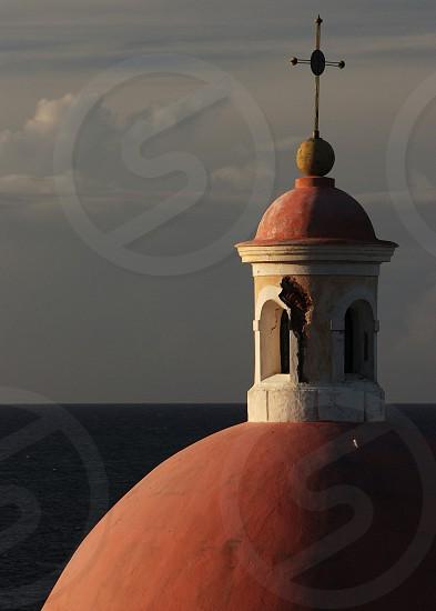 Church Steeple at sunset in San Juan  photo