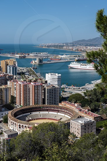 View of the Harbour Area and Bullring in Malaga photo