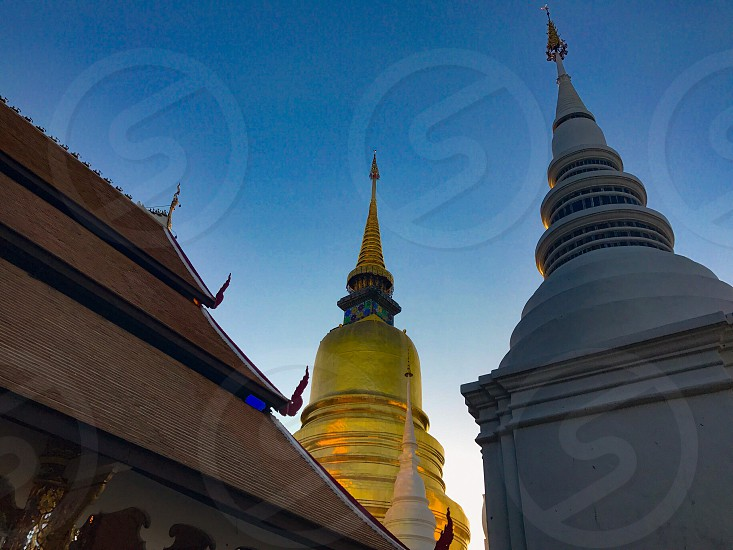 temple monastery wat Buddhism Buddha Buddhist chiangmai Thailand gold sky pagoda chedi cemetery suandok sanctuary worship respect pray architecture photo