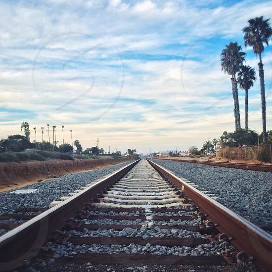 brown metal rail road  photo