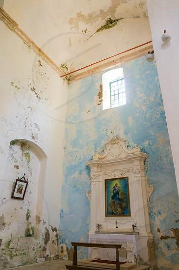 Interior of church with painted wallsSipan island croatia photo