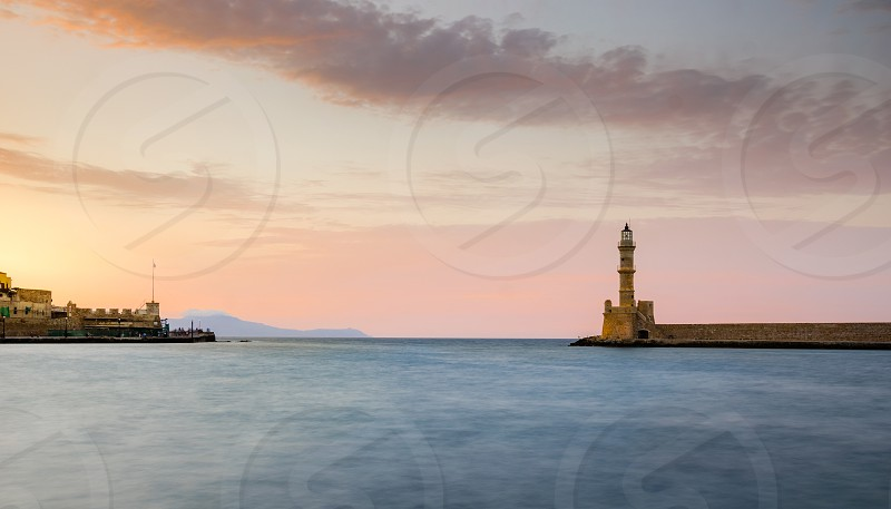 travel holidays vacation Chania Greece Crete Lighthouse harbour sea photo