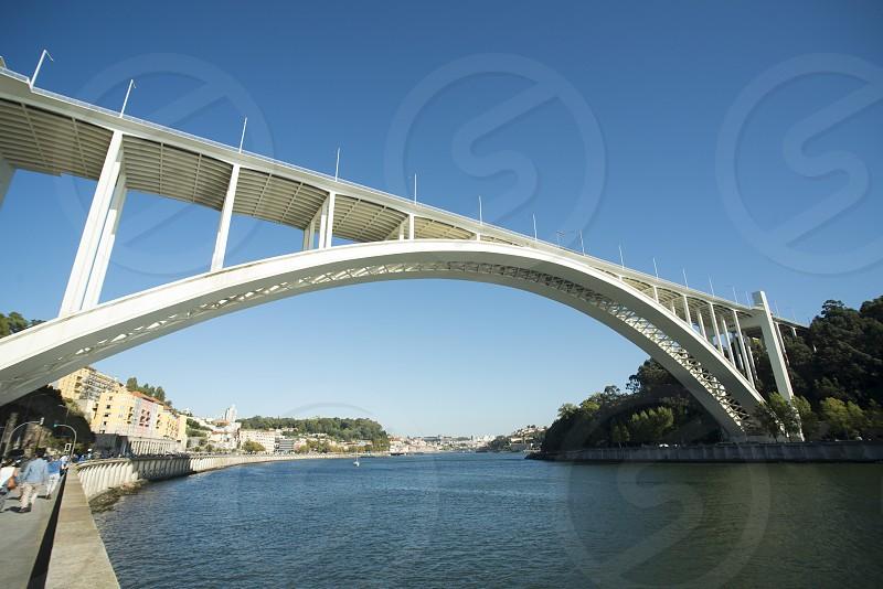 the ponte da arrabida on the Douro River in Ribeira in the city centre of Porto in Porugal in Europe. photo