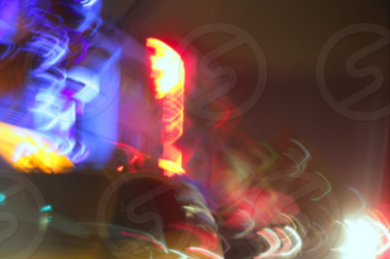 Blurred night colorful motion lights in Miami Beach downton photo