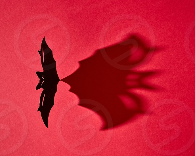 Black handmade craft paper bat with shadow on red background and copy space. Creative mystical halloween card. Flat lay photo