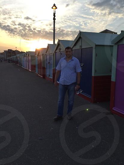 Huts Sunset outdoors Brighton photo