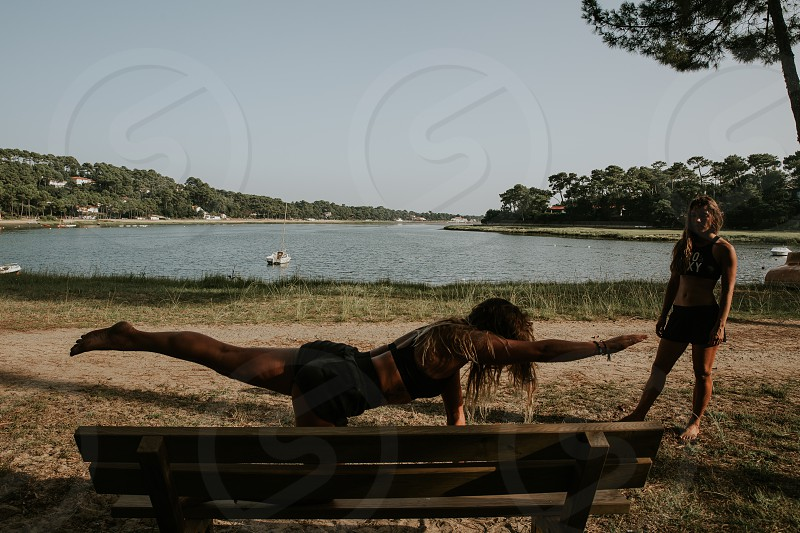 girls outdoor workout in summer in the south of France  photo