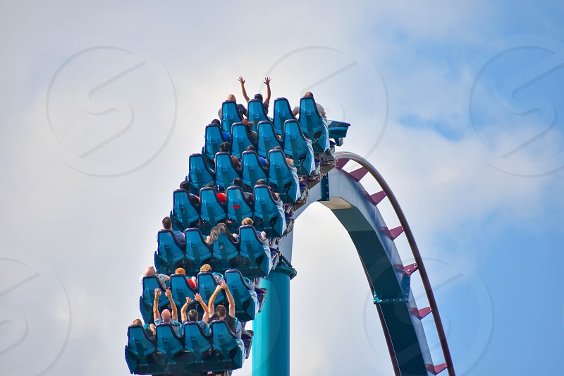Orlando Florida . February 17  2019 Ride Mako a hyper coaster known for high speeds deep dives and thrills around every turn. at Seaworld (7) photo