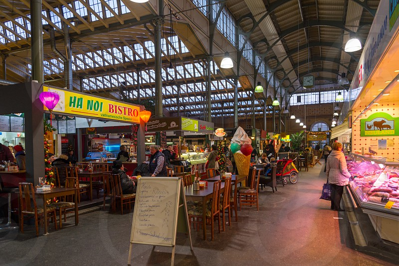"""Old building which is Market hall name """" Arminiusmarkthalle """" inside Moabit neighborhood in Berlin Germany  photo"""
