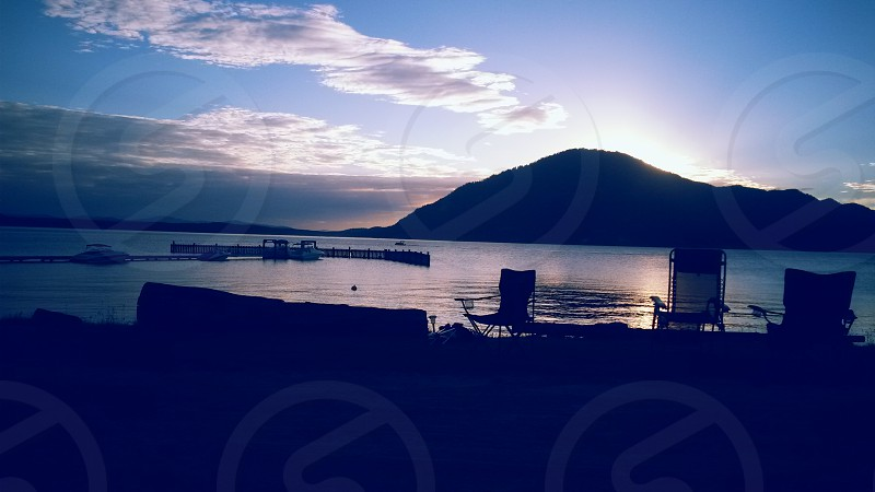 Beautiful summer sunset on Lake Pend Oreille  photo