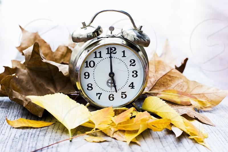 Retro alarm clock with autumn leaves photo