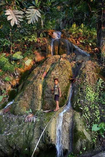 a waterfall in the town of Loihuno in the south of East Timor in southeastasia. photo